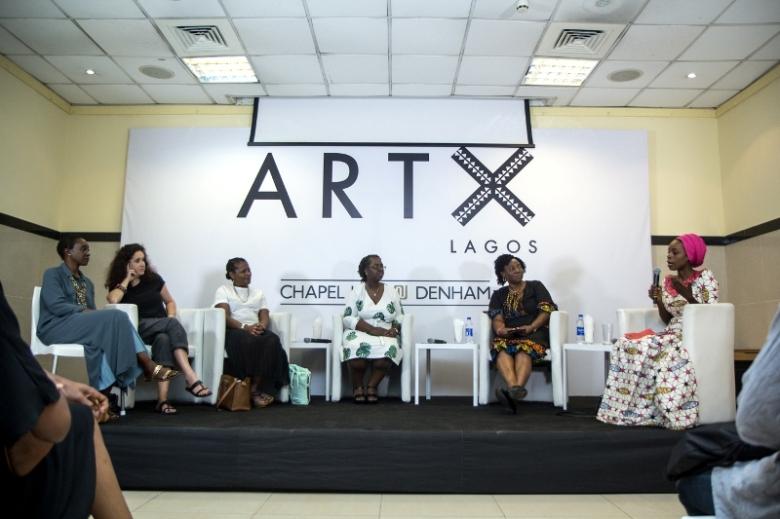 Bisi Silva leading a panel with N'Gone ü Fall, Sokari Douglas-Camp and Celine Soror