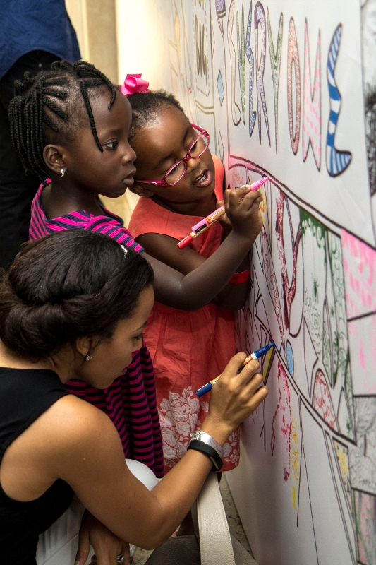 Guests at The Colouring Wall