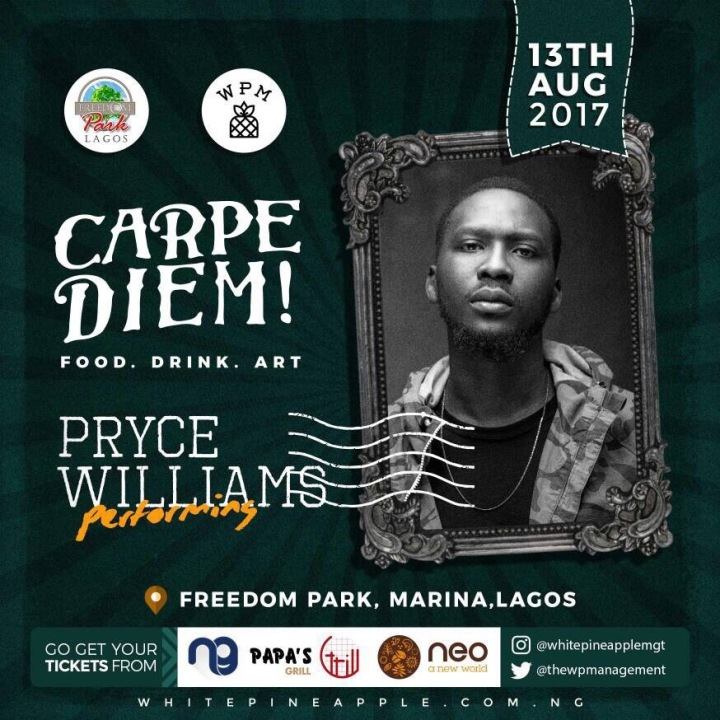 Pryce Williams -- Carpe Diem! Freedom Park Food . Drink . Art